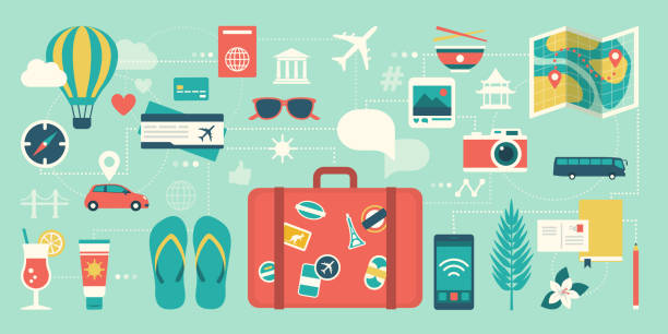 Summer vacations and international traveling Summer vacations and international traveling: suitcase, smartphone and network of traveling icons travel stock illustrations