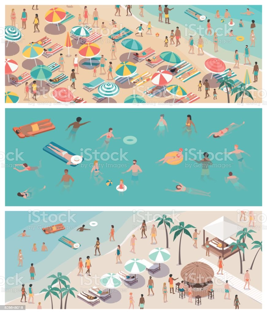 Summer vacations at the beach vector art illustration
