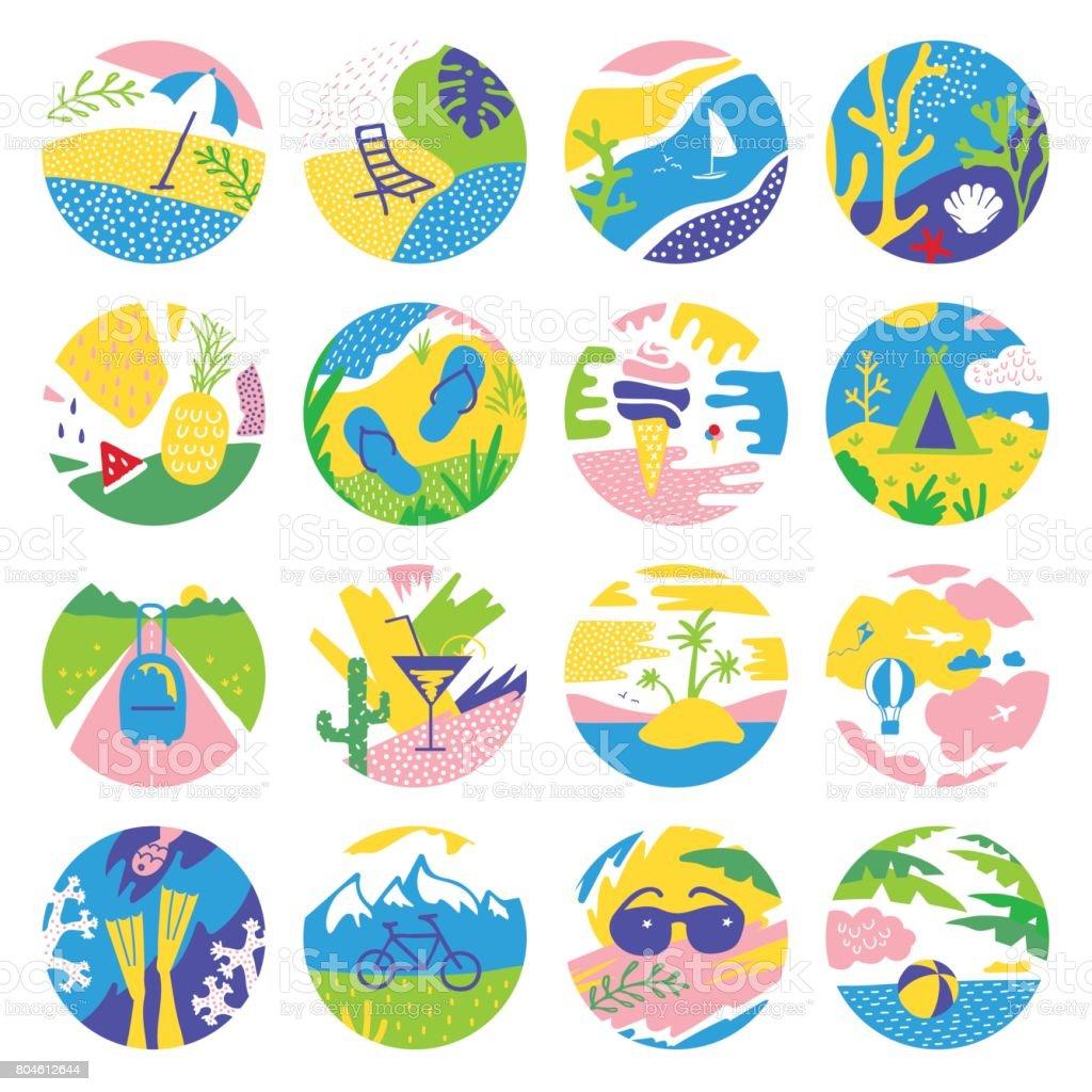 Summer vacations circle icons vector art illustration