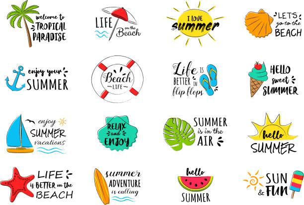 bildbanksillustrationer, clip art samt tecknat material och ikoner med sommarsemester - samling av roliga typografi. vektor. - spain solar