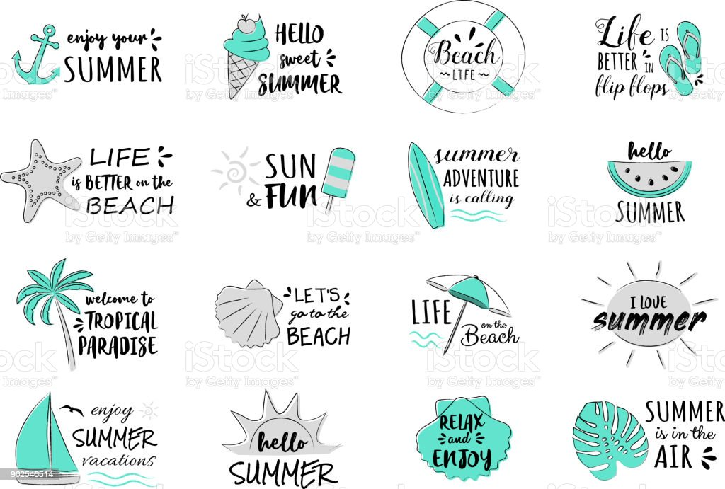 Férias de verão - coleção de tipografia engraçada. Vector. - Vetor de Banner web royalty-free