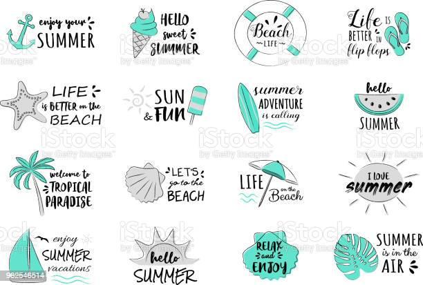 Vetores de Férias De Verão Coleção De Tipografia Engraçada Vector e mais imagens de Banner web