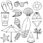 Vector illustration of summer objects.