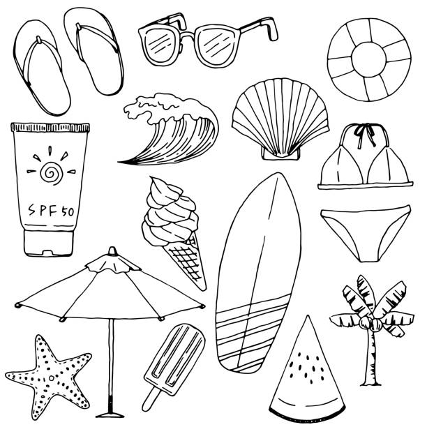 Summer Vacations Drawing Set Vector illustration of summer objects. beach clipart stock illustrations