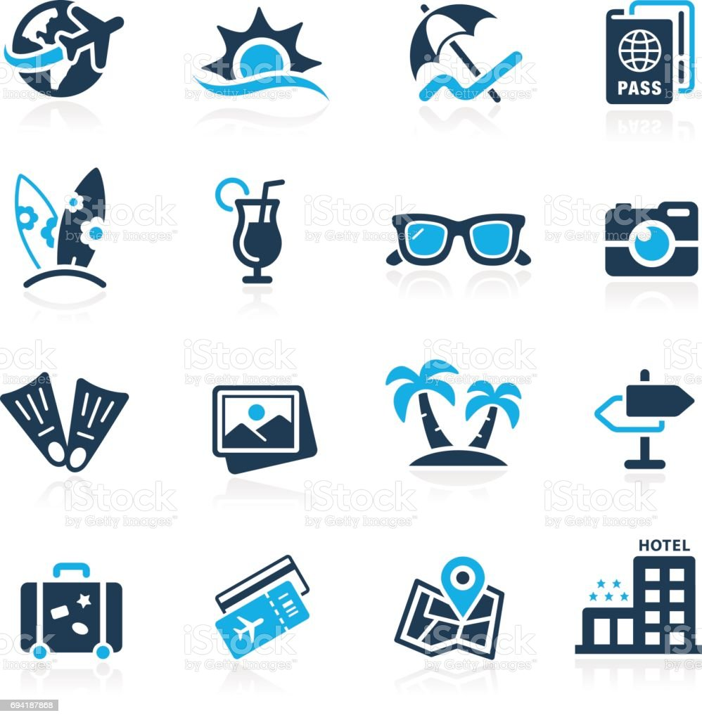 Summer Vacations Icons // Azure Series vector art illustration