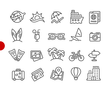 Summer Vacations Icons // Red Point Series