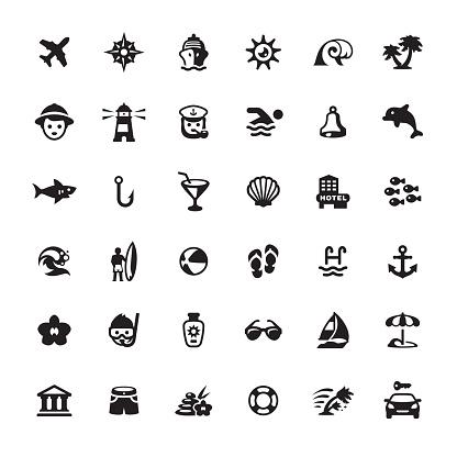 Summer Vacations icons set