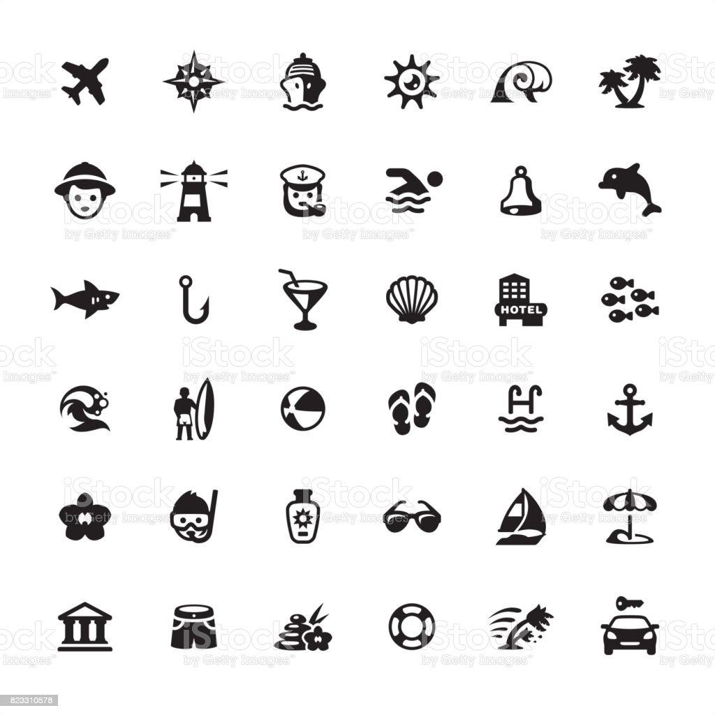 Summer Vacations icons set vector art illustration