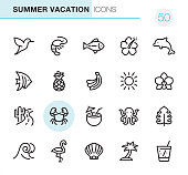 20 Outline Style - Black line - Pixel Perfect icons / Set #50 / Summer Vacations / Icons are designed in 48x48pх square, outline stroke 2px.  First row of outline icons contains: Humming Bird, Shrimp-Seafood, Fish, Hibiscus, Dolphin;  Second row contains: Butterflyfish, Pineapple, Bananas icon, Sun, Orchid;  Third row contains: Cactus and Southwest Road, Crab icon, Coconut Cocktail, Octopus, Monstera Leaf;   Fourth row contains: Wave icon, Flamingo, Animal Shell, Palm Tree, Lemonade icon.  Complete Primico collection - https://www.istockphoto.com/collaboration/boards/NQPVdXl6m0W6Zy5mWYkSyw