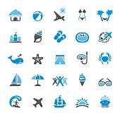 Summer Vacations related vector icons collection. Three-color palette /Isolated on white/ Quartico set #46 / transparent png-24 version 5000×5000 px included /