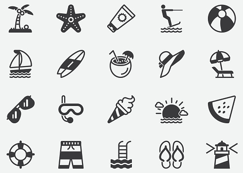 Summer vacations ,Sea , Beach ,Activities and Places related with Traveling, Tourism,Resorts and Hotels Pixel Perfect Icons