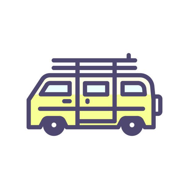 ilustrações de stock, clip art, desenhos animados e ícones de summer van vehicle with surf boards icon. vector thin outline icon for beach, surfing, hippie, outdoor adventures, vacation concepts - viagens anos 70
