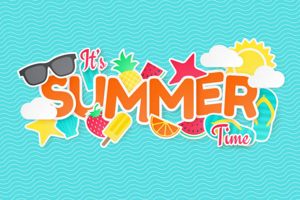 ilustraciones, imágenes clip art, dibujos animados e iconos de stock de fondo vectorial de verano. corte de papel. puede utilizado para los banners, papel pintado, volantes, invitación, carteles, folleto. - verano
