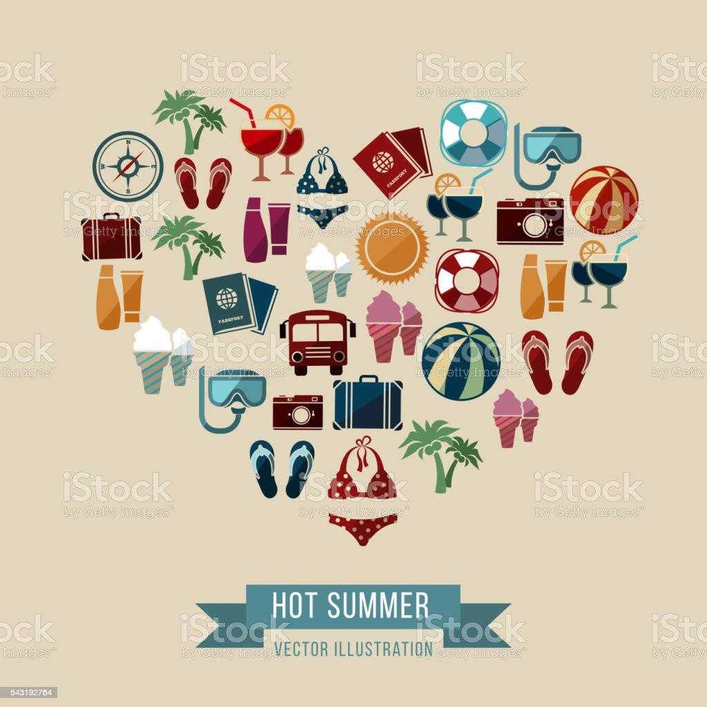 Summer vector background with flat beach and vacation icons vector art illustration