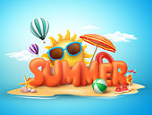 Summer vector banner design concept of 3d text in beach island with summer elements and balloons in blue sky background. Vector illustration.