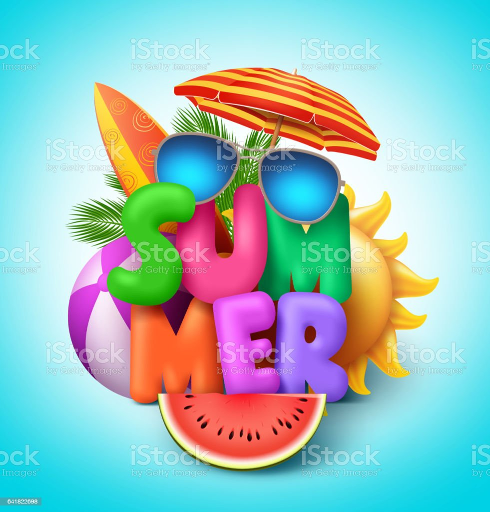 Summer vector banner design with colorful text vector art illustration