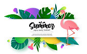 istock Summer vector banner template design. Summer enjoy every moment text in empty white space with flamingo and nature plant leaves element for tropical season decoration. 1304456681