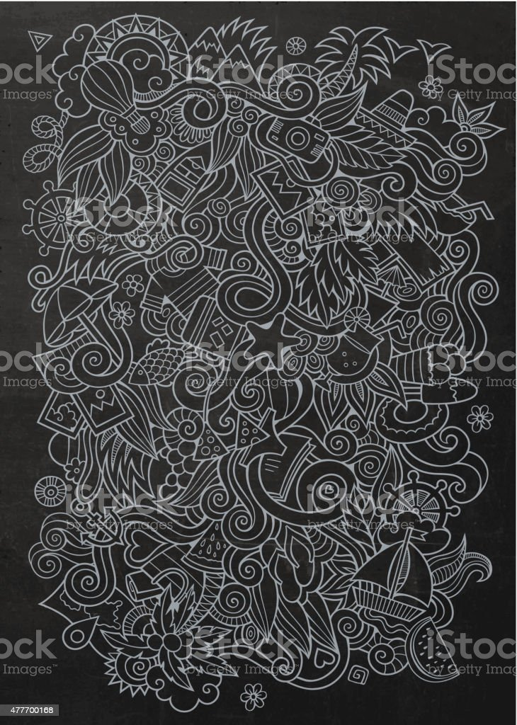 Doodles abstract decorative summer vector chalkboard background