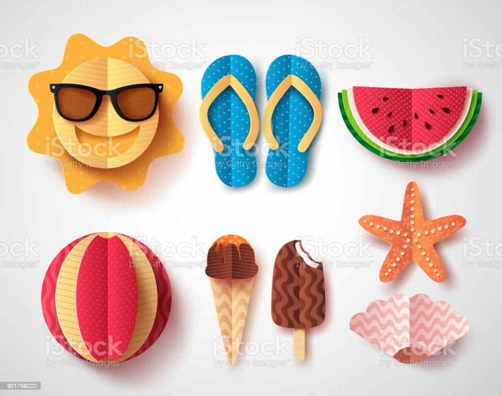 Summer vector elements set with paper cut flat folding style of sun
