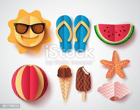 Summer vector elements set with paper cut flat folding style of sun, flipflops ice cream, watermelon and starfish isolated in white background. Vector illustration.