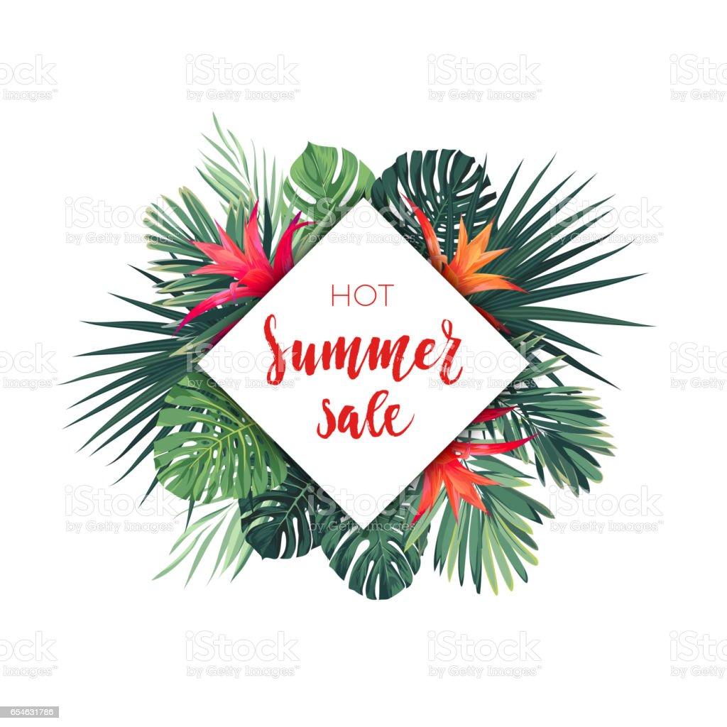 summer vector floral sale banner tropical template design