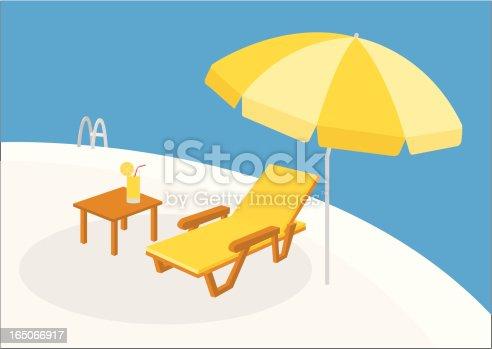 deck chair and beach umbrella,vector illustration