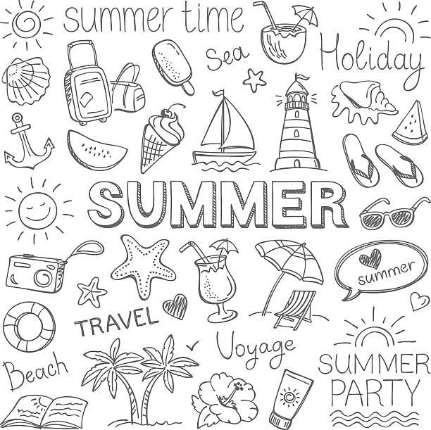 Summer Summer, pencil drawing. doodle stock illustrations