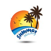 Summer holidays design Labels, Badges,emblem,vector illustration