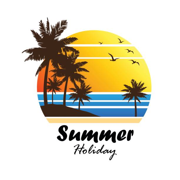im sommer  - strand stock-grafiken, -clipart, -cartoons und -symbole