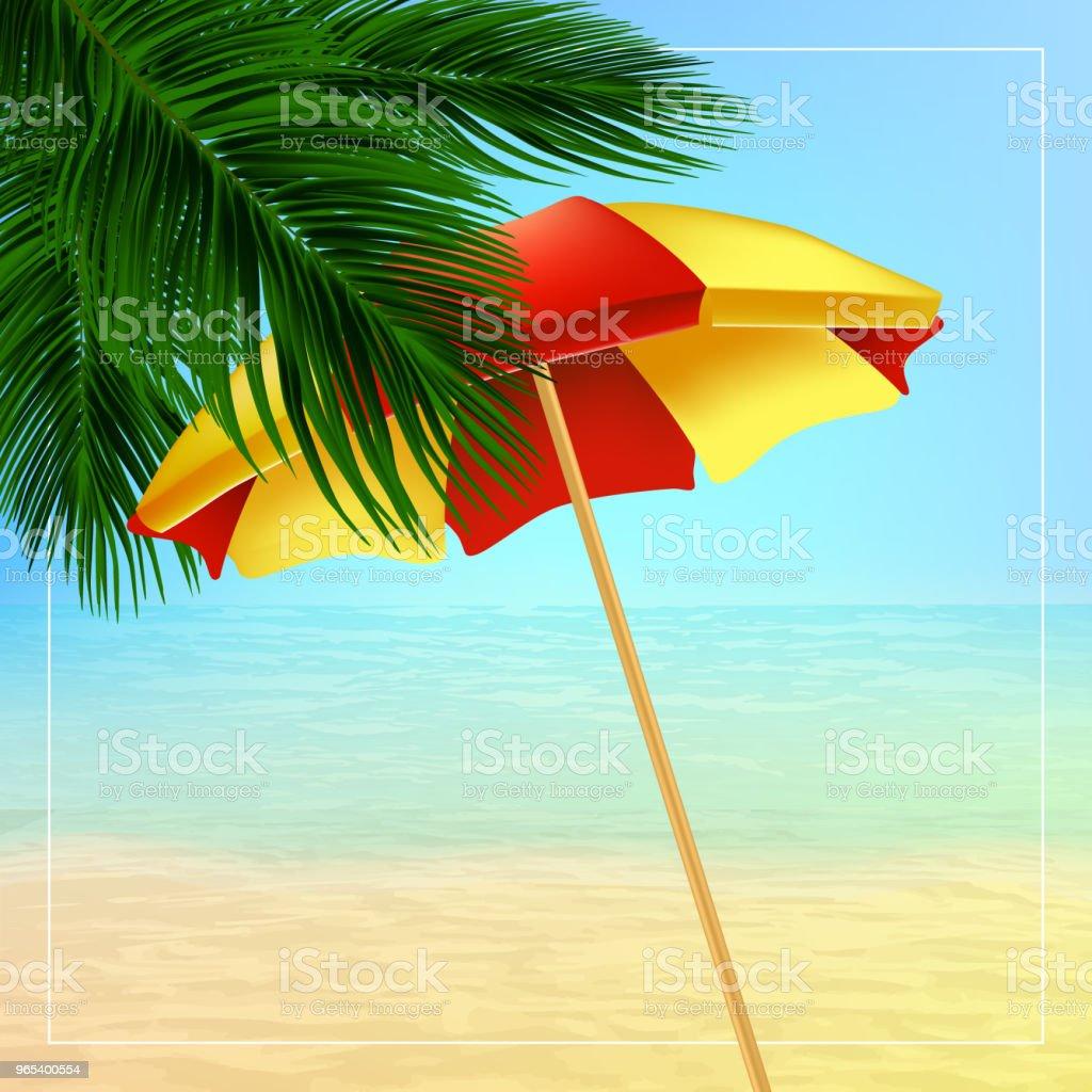 Sommer-Vektor-Illustration mit Palme Blätter, Sonnenschirm - Lizenzfrei Baum Vektorgrafik