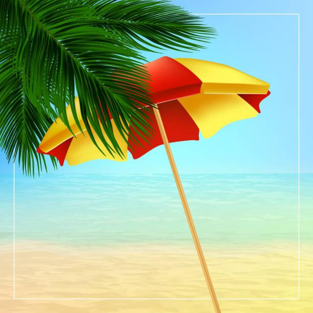 Sommer-Vektor-Illustration mit Palme Blätter, Sonnenschirm – Vektorgrafik