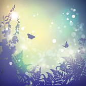 Summer vector landscape nature background. Wild grass, herbs, butterfly and flowers silhouette. Sunset. Vintage poster in retro color. Blur. Bokeh.