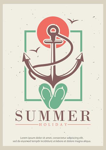 Summer vector retro grunge poster design template