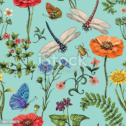 sommer vector musterdesign botanische tapete pflanzen insekten blumen im vintagestil. Black Bedroom Furniture Sets. Home Design Ideas