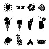 Summer vegetables and fruits icon set