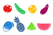Summer vegetables and fruits icon set (stamp Texture)