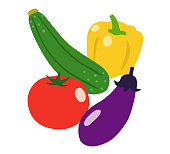 Summer vegetables icon set