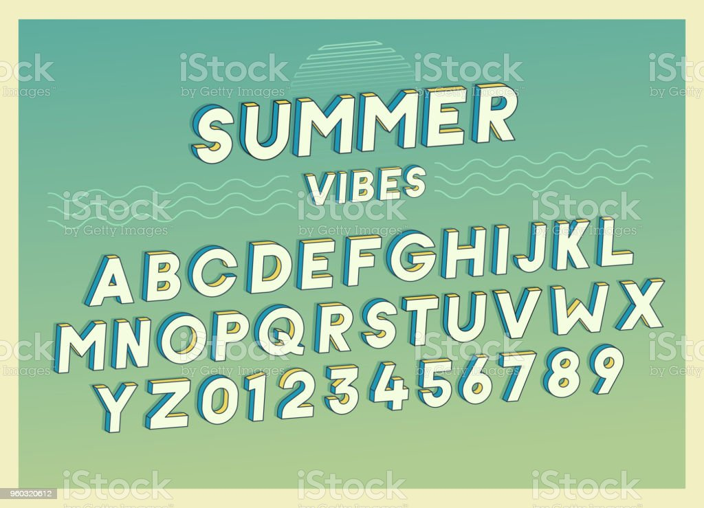 Summer Vibes font effect design with retro colors. Vector art. Includes full alphabet and numbers vector art illustration