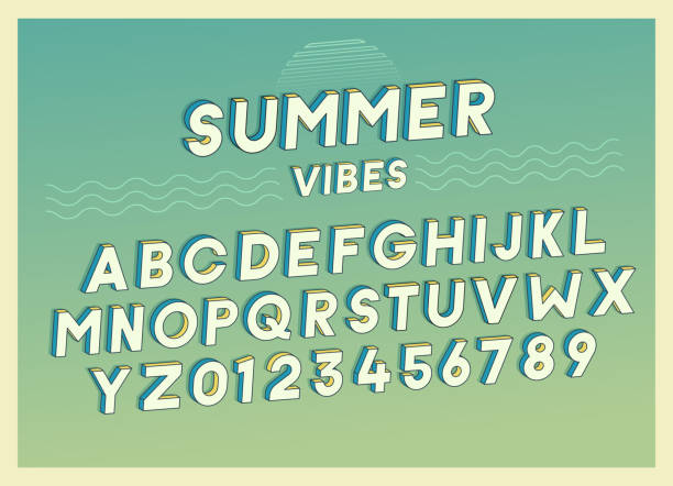 summer vibes font effect design with retro colors. vector art. includes full alphabet and numbers - beach fashion stock illustrations, clip art, cartoons, & icons