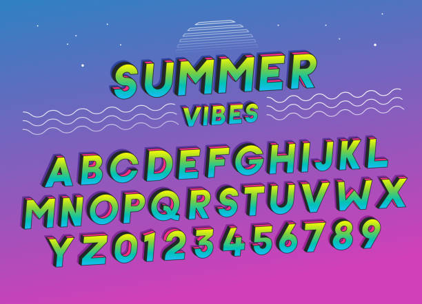 Summer Vibes font effect design with vivid colors. Vector art. Includes full alphabet and numbers vector art illustration