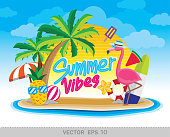 Summer vibes illustration vector. Fun summer graphic artwork.