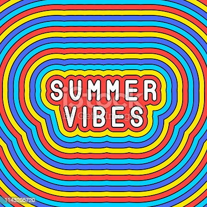 """""""Summer vibes"""" slogan poster. Colorful vector illustration. Cute design template."""