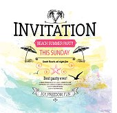 Summer Vintage Invitation Background - layered eps 10 illustration with transparency. Global colors used - easy to change an edit.