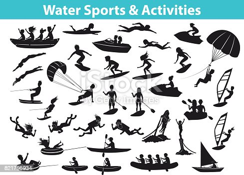 Summer water beach sports, activities SIlhouette set. People, man, woman, couple, family windsurfing, surfing, jet skiing, stand up paddleboarding, snorkeling, scuba diving, tubing, riding speed boat and banana float, fly boarding, kayaking, parasailing, wakeboarding, kitesurfing, waterskiing,
