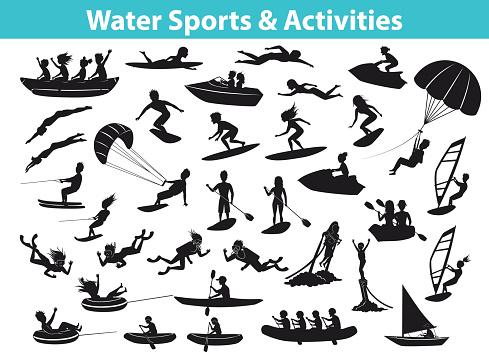 Summer water beach sports, activities SIlhouette set