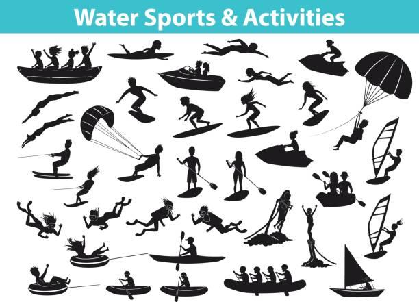 ilustrações, clipart, desenhos animados e ícones de desportos de praia de água de verão, actividades silhueta definida - esporte aquático