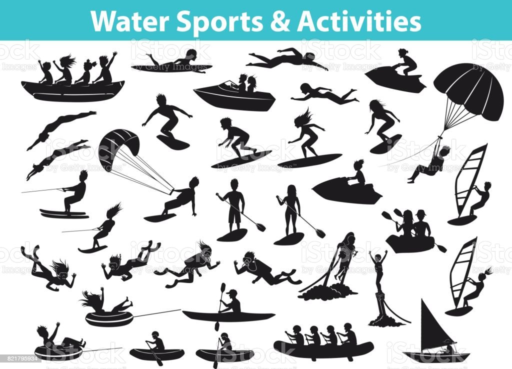 Summer water beach sports, activities SIlhouette set vector art illustration