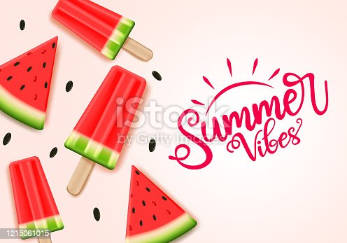 istock Summer water melon vector banner template. Summer vibes text with tropical fruit water melon. 1215061015