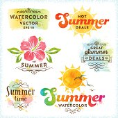 Summer Watercolor Design Elements