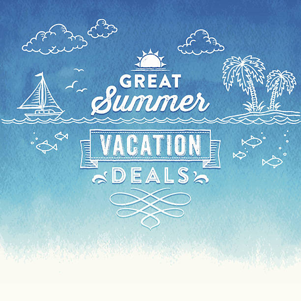 summer watercolor sign - doodles and hand drawn frames stock illustrations, clip art, cartoons, & icons